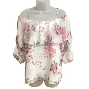 New York & Co off the shoulder floral blouse